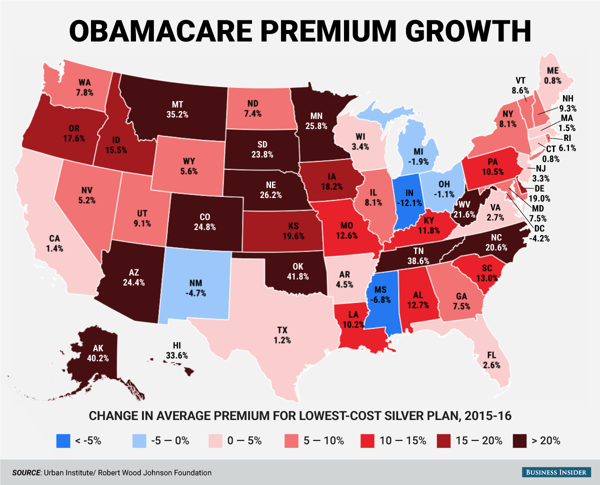 Как повышаются ставки страховых компаний по штатам. с сайта zerohedge