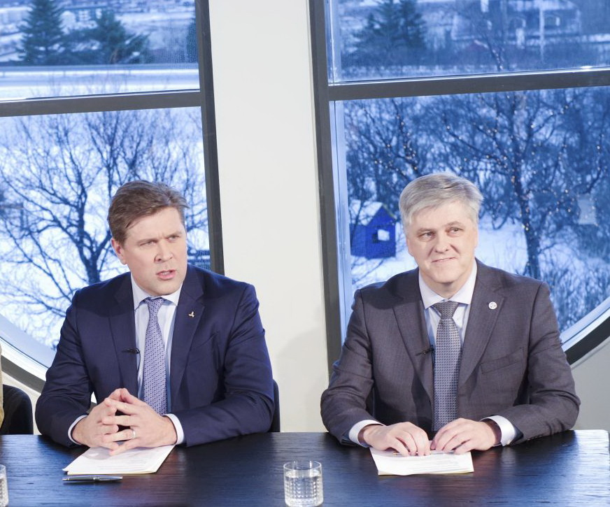 Bjarni Benediktsson the leader of the Icelandic Independence Party, a member of the parliament Ottarr Proppe and politican Benedikt Johannesson introducing the new Icelandic government agreement in Kopavogu