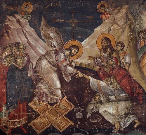 Воскресение Христово. Фреска Мануила Панселина в соборе Протата на Афоне. Конец XIII века