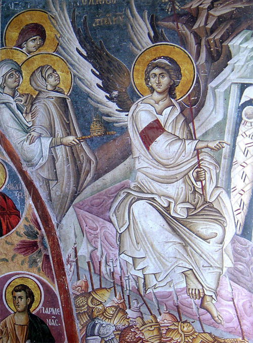 Явление Ангела Женам-Мироносицам. Фреска монастыря Ватопед на Афоне. Начало XIV века
