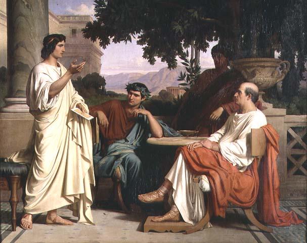 Чарльза Джалаберт. «Гораций, Вергилий и Варий дома у Мецената»