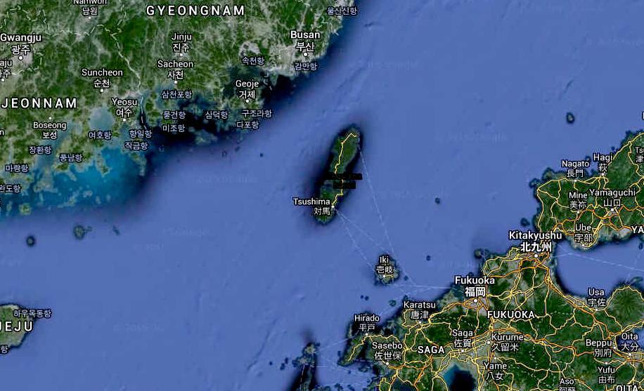 Tsushima Island South Korea Strait Japan Ocean Map
